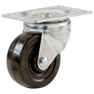 "4""(D) Heavy Duty Swivel Plate and Grey Urethane Wheel"